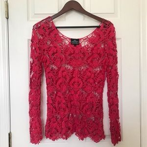 NWOT Angie crochet pink long sleeve top